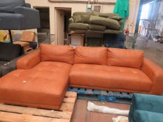   1X   MADE.COM JARROD LEFT HAND FACING CHAISE END CORNER SOFA, OUTBACK TAN LEATHER   HAS