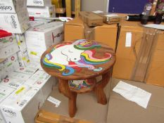 2x Childrens Round Natural Table Unicorn Design - Unchecked & Boxed.