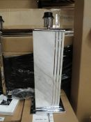 Chelsom - Chrome & Marble Effect Rectangle Shaped Table Lamp - E27 Bulb - (No Shade Present) - Model