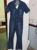 Ladies Short Sleeve Blue Stretch Denim Jumpsuit size S new (sample)