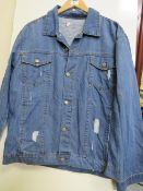 Mens Light Blue Distressed Denim Jacket size M new
