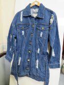 Mens Blue Distressed Belted Denim Jacket size M new