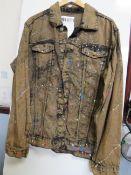 Revolution Mens Brown Splatter Denim Jacket size M new with tag