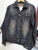 Revolution Mens Black/Brown Denim Jacket size M new with tag