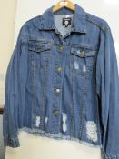 Boo Hoo Ladies Blue Distressed Denim Jacket size 10 new