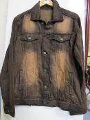 Revolution Mens Brown Denim Jacket size M new
