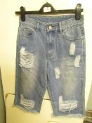 Ladies Blue Distressed Denim Shorts size 10 new (sample)