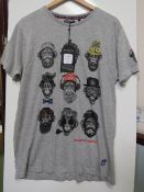 Brave Soul Hipster Mens Grey Logo T Shirt size M new with tag