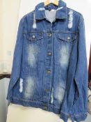 Mens Blue Distressed Denim Jacket size M new