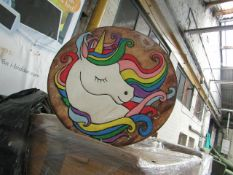 2x Hand Painted Natural solid wood Unicorn Table - Unused & Boxed.