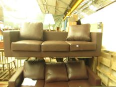   1X   LOFT ISABELLA 3 SEATER LEATHER SOFA   UNCHECKED WITH MISSING CUSHION & NO FEET PRESENT  