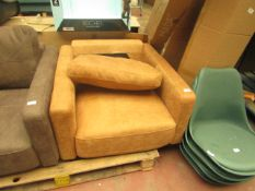   1X   MADE.COM JARROD ARMCHAIR, OUTBACK TAN LEATHER   UNCHECKED & FEET PRESENT   RRP £1,009  