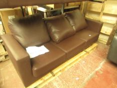   1X   LOFT ISABELLA 3 SEATER LEATHER SOFA   UNCHECKED & NO FEET PRESENT   RRP £315  