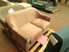   1X   MADE.COM TUBBY 2 SEATER SOFA, HEATHER PINK VELVET   UNCHECKED & NO FEET PRESENT   RRP £449  