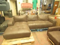   1X   MADE.COM JARROD LEFT HAND FACING END CHAISE END CORNER SOFA, TRUFFLE BROWN LEATHER  
