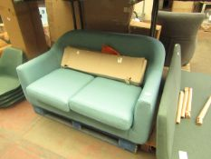   1X   MADE.COM TUBBY 2 SEATER SOFA, SOFT TEAL   UNCHECKED & FEET PRESENT   RRP £399  