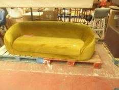   1X   MADE.COM TRUDY 3 SEATER SOFA, VINTAGE GOLD VELVET   UNCHECKED & NO FEET PRESENT   RRP £699  
