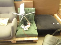  1X   MADE.COM FLYNN OFFICE CHAIR, GREEN VELVET   UNCHECKED & APPEARS TO BE MISSING CASTORS  