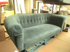   1X   MADE.COM 2 SEATER BUTTON BACK, TEAL SOFA   NEEDS A GOOD CLEAN & HAS IMPERFECTIONS ON THE
