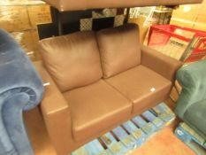   1X   LOFT ISABELLA 2 SEATER LEATHER SOFA   DAMAGED ON THE BACK OF THE SOFA HOWEVER IF PUT