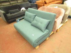   1X   MADE.COM HARU SMALL SOFA BED, SHERBET BLUE   UNCHECKED & NO FEET PRESENT   RRP £329  
