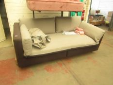   1X   ARABELO 3 SEATER LOOSE COVER SOFA   UNCHECKED HOWEVER THE FRAME & CUSHIONS COLOUR DIFFER  