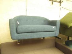   1X   MADE.COM LOTTIE 2 SEATER SOFA, HARBOUR BLUE   UNCHECKED & NO FEET PRESENT   RRP £399  