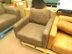   1X   MADE.COM JARROD ARMCHAIR, TRUFFLE BROWN LEATHER   UNCHECKED & FEET PRESENT   RRP £1,009  