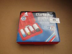 1x CL SOCKTSET PRO182 4PCE 1/2DR, This lot is a Machine Mart product which is raw and completely