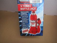 1x CL BOTTLE JACK CBJ3B 3TON 180-350MM, This lot is a Machine Mart product which is raw and