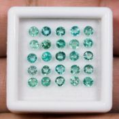 Beautiful - Natural Untreated Colombian Emeralds - 2.10 Carats - 25 Pieces - Diamond round cut.