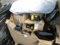PALLET CONTAINING CAR ACCESSORIES, SNOW SHOVELS AND TRAVEL FIRST AID KITS. ALL UNCHECKED