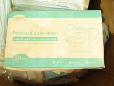 10x Pack of 50x disposable face masks - New & Packaged.