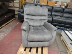 Costco leather swivel and recliner armchair, no major damage but has blue marks on the right arm.