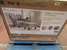 Pulaski fabric chair and ottoman, unchecked and boxed.