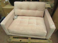 | 1X | SWOON PINK VELVET SMALL LOVE SEAT | NO MAJOR DAMAGE | RRP £1049 |