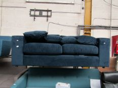 | 1X | SWOON BLUE VELVET 2 SEATER SOFA | NO MAJOR DAMAGE AND INCLUDES FEET | RRP CIRCA £1200 |