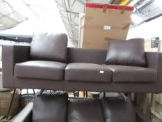 | 1X | LOFT ISABELLA 3 SEATER LEATHER SOFA | UNCHECKED WITH MISSING CUSHION & NO FEET PRESENT |