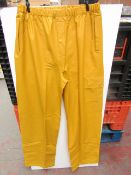 PVC Work Trousers - Light Yellow Mustard - Size Medium - Unused & Packaged.