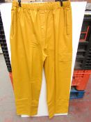 PVC Work Trousers - Light Yellow Mustard - Size XL - Unused & Packaged.