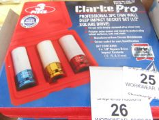 1x CL SOCKTSET PRO184 3PCE 1/2DR, This lot is a Machine Mart product which is raw and completely
