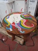 Childrens Round Natural Table Unicorn Design - Unchecked & Boxed.