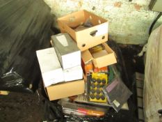PALLET CONTAINING VARIOUS ITEMS BEING STEERING WHEEL LOCKS,WALL LIGHTS,WORKWEAR AND MUCH MORE