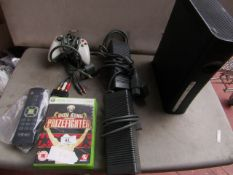 Xbox 360 games console with controller, power supply, Tv connection cable, remote control and 3