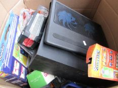 Box of various electrical and non electrical items, all unchecked