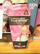 8 x packs (4 masks per pack) of Girls Social Lab Triple Layer Organic Cotton Face Masks RRP £12.99
