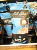 5 x packs (4 masks per pack) of Boys Social Lab Triple Layer Organic Cotton Face Masks RRP £12.99