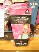 5 x packs (4 masks per pack) of Girls Social Lab Triple Layer Organic Cotton Face Masks RRP £12.99