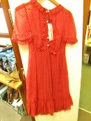 L K Bennett London Malami Red Multi Chiffon Dress size 6 RRP £295 new with tag (button missing but