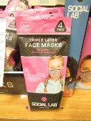 11 x packs (4 masks per pack) of Girls Social Lab Triple Layer Organic Cotton Face Masks RRP £12.